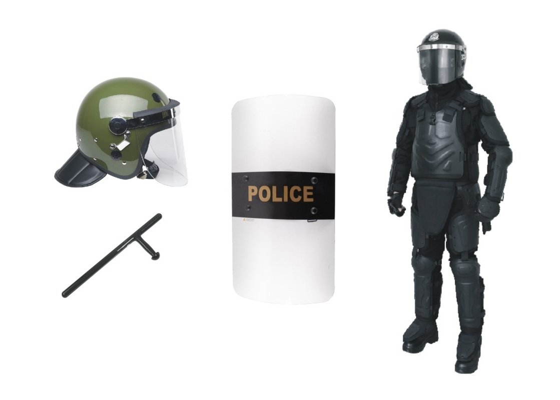Olive Green Anti Riot Helmet Police Riot Shield Baton Equipment For Protection