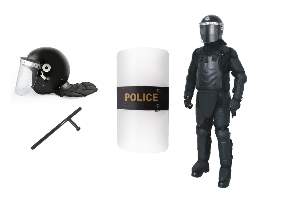 Anti Riot Police Safety Equipment With Helmet / Shield / Full Body Armor Suit / Baton